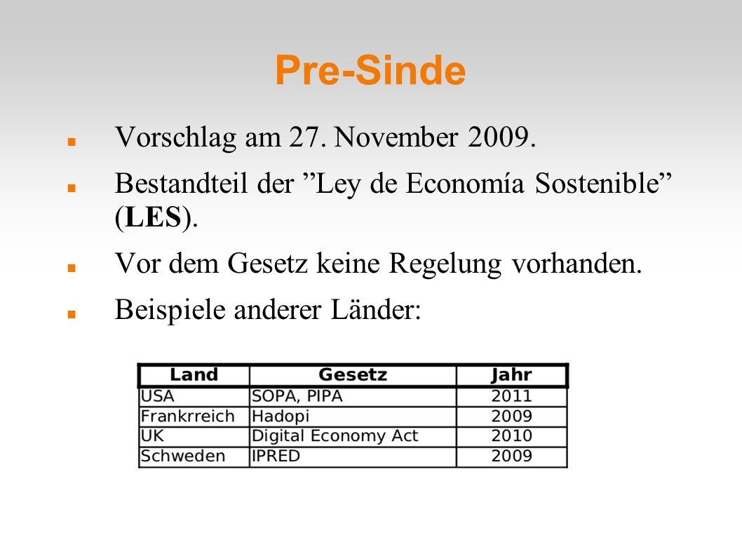Pre-Sinde Vorschlag am 27. November 2009. Bestandteil der Ley de Economía Sostenible (LES).