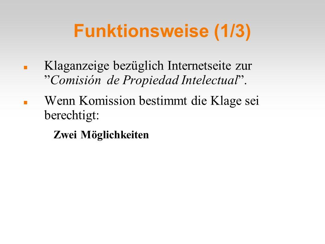 Funktionsweise (1/3) Klaganzeige bezüglich Internetseite zurComisión de Propiedad Intelectual.