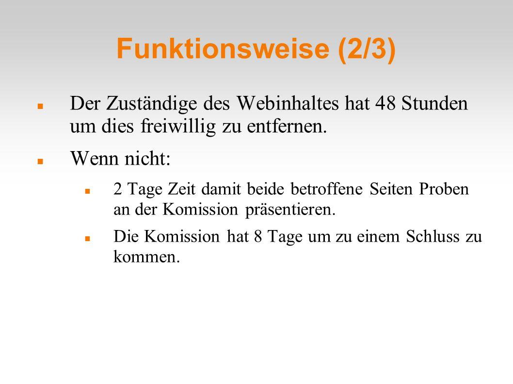 Funktionsweise (2/3) Der Zuständige des Webinhaltes hat 48 Stunden um dies freiwillig zu entfernen.