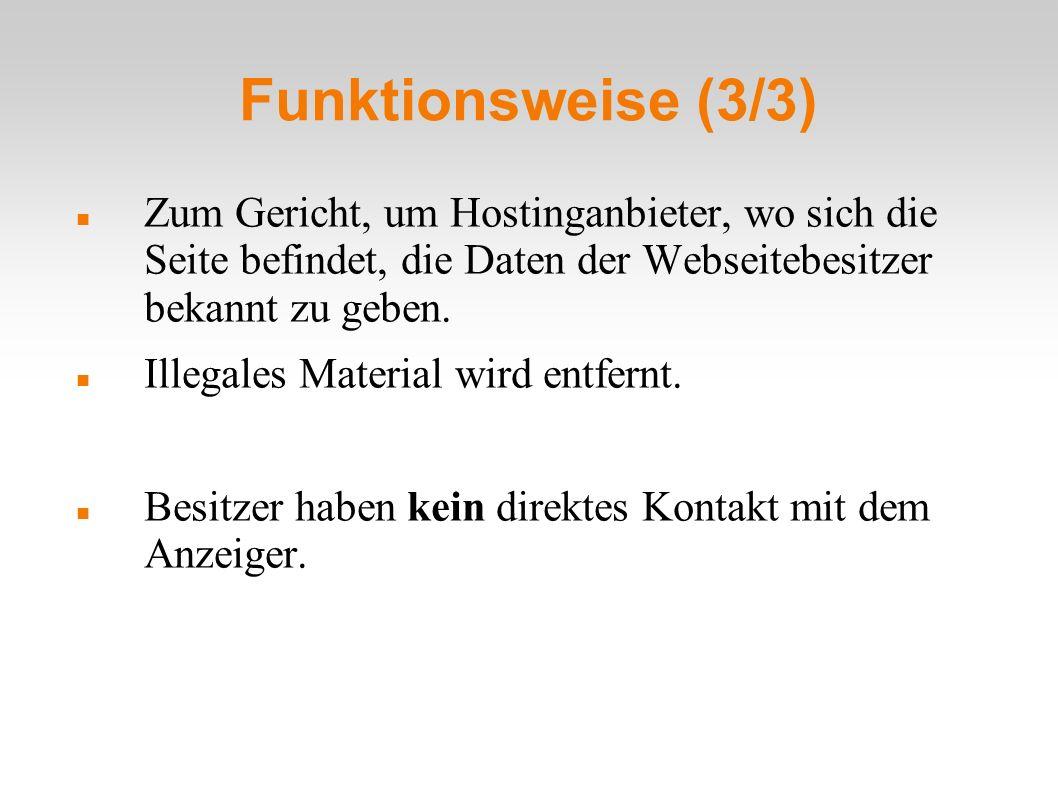 Funktionsweise (3/3) Zum Gericht, um Hostinganbieter, wo sich die Seite befindet, die Daten der Webseitebesitzer bekannt zu geben.