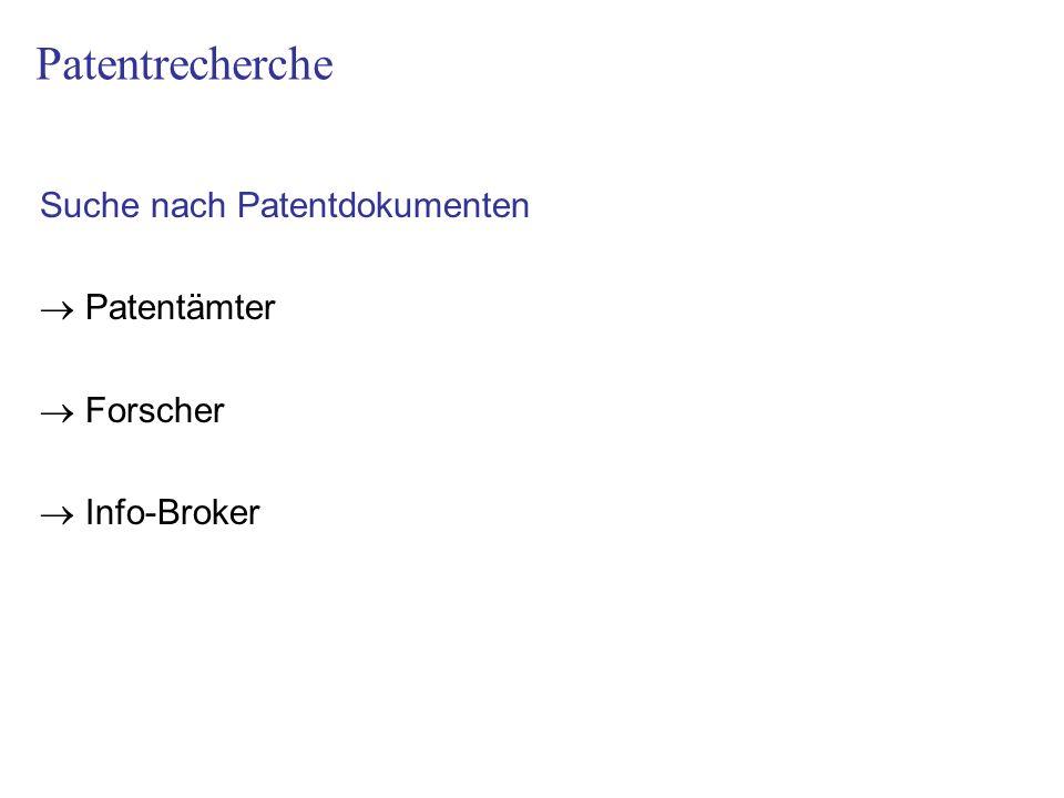 Suche nach Patentdokumenten Patentämter Forscher Info-Broker Patentrecherche
