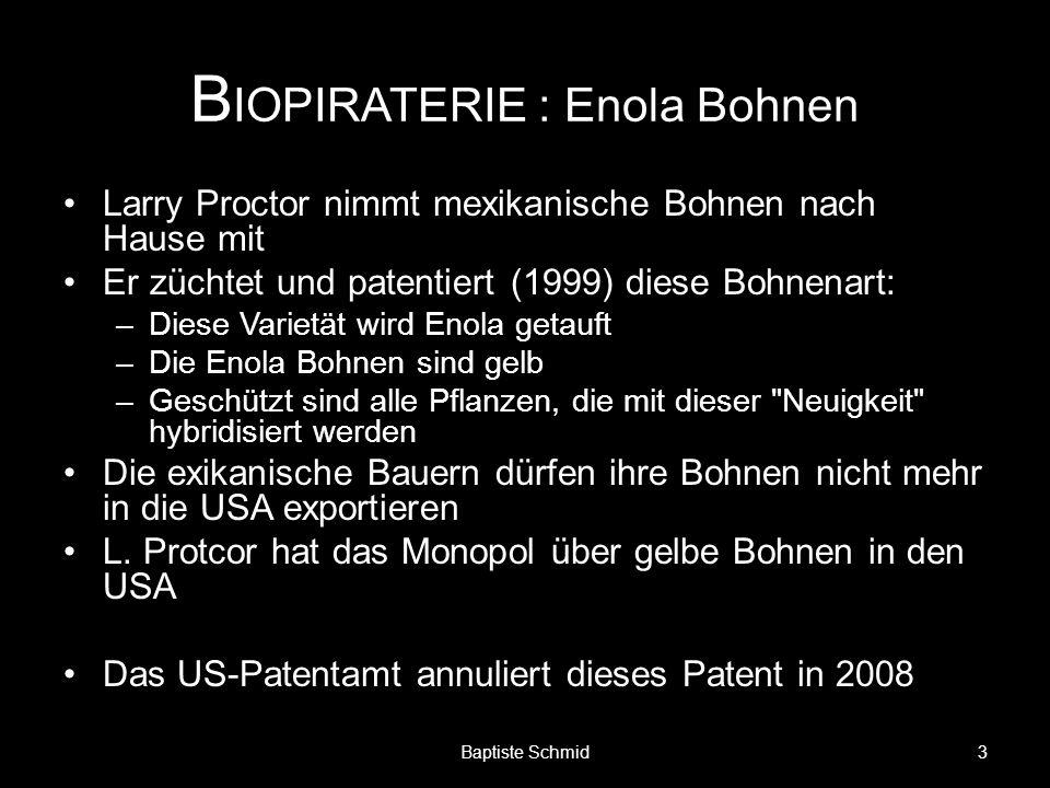 B IOPIRATERIE : Enola Bohnen Larry Proctor nimmt mexikanische Bohnen nach Hause mit Er züchtet und patentiert (1999) diese Bohnenart: –Diese Varietät