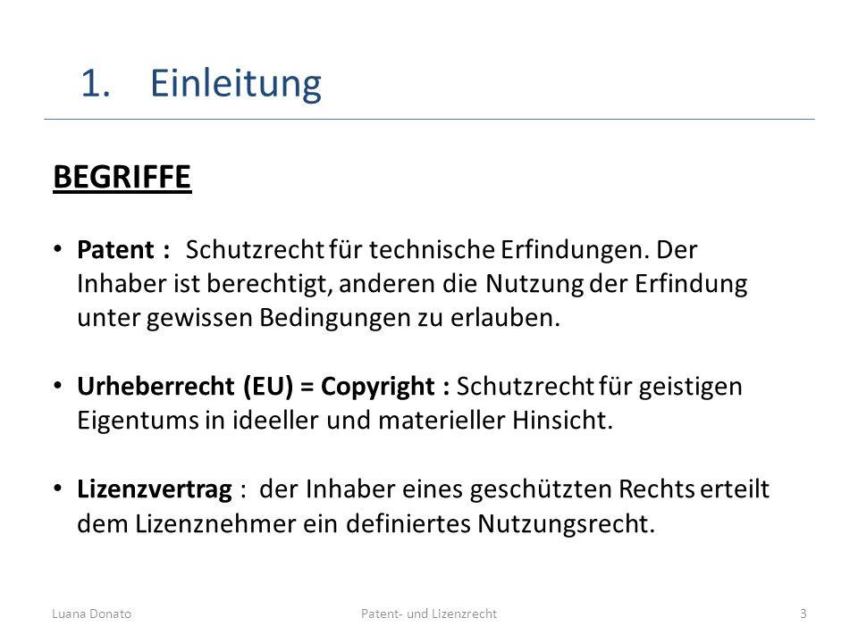 Patent- und LizenzrechtLuana Donato3 BEGRIFFE Patent : Schutzrecht für technische Erfindungen. Der Inhaber ist berechtigt, anderen die Nutzung der Erf