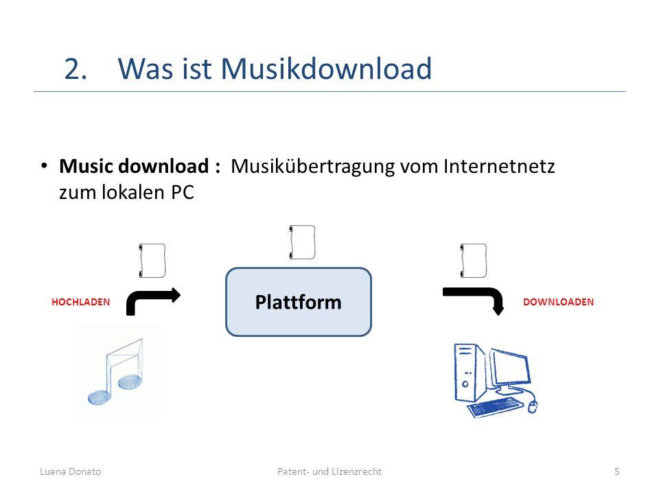 Patent- und LizenzrechtLuana Donato5 2.Was ist Musikdownload Music download : Musikübertragung vom Internetnetz zum lokalen PC Plattform HOCHLADENDOWN