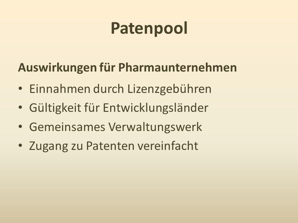Patenpool Auswirkungen für Pharmaunternehmen Einnahmen durch Lizenzgebühren Gültigkeit für Entwicklungsländer Gemeinsames Verwaltungswerk Zugang zu Pa