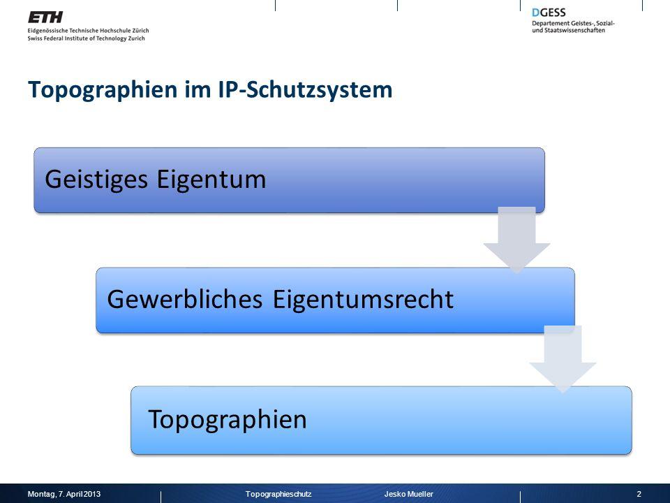 Topographien im IP-Schutzsystem Geistiges Eigentum Gewerbliches Eigentumsrecht Topographien Montag, 7. April 20132Topographieschutz Jesko Mueller