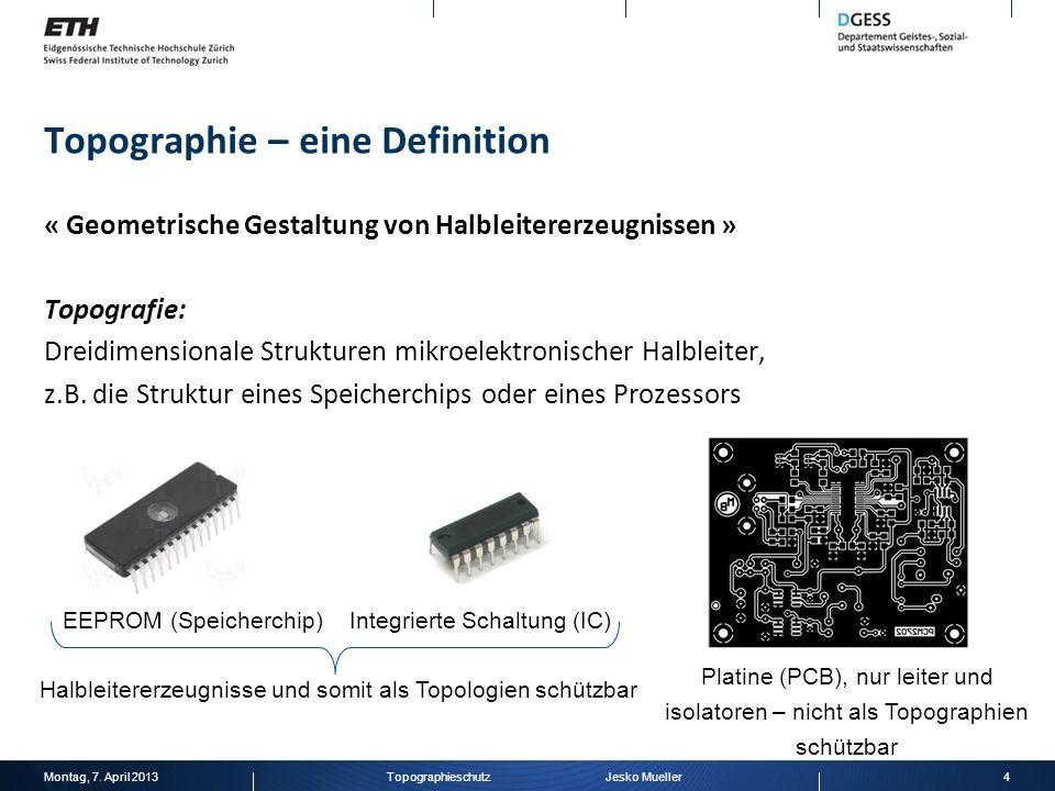 Topographie – eine Definition « Geometrische Gestaltung von Halbleitererzeugnissen » Topografie: Dreidimensionale Strukturen mikroelektronischer Halbl