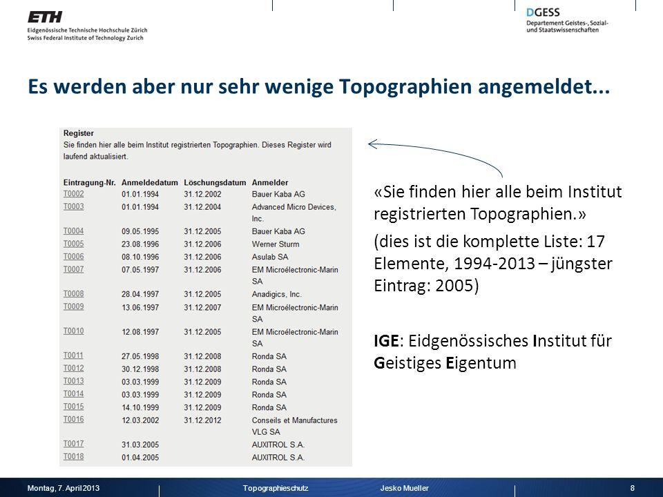 Es werden aber nur sehr wenige Topographien angemeldet... Montag, 7. April 20138Topographieschutz Jesko Mueller «Sie finden hier alle beim Institut re
