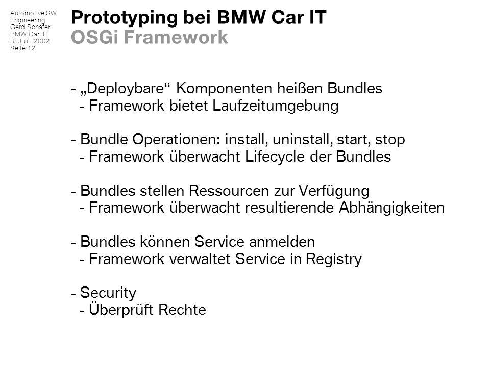 Automotive SW Engineering Gerd Schäfer BMW Car IT 3. Juli. 2002 Seite 12 Prototyping bei BMW Car IT OSGi Framework - Deploybare Komponenten heißen Bun