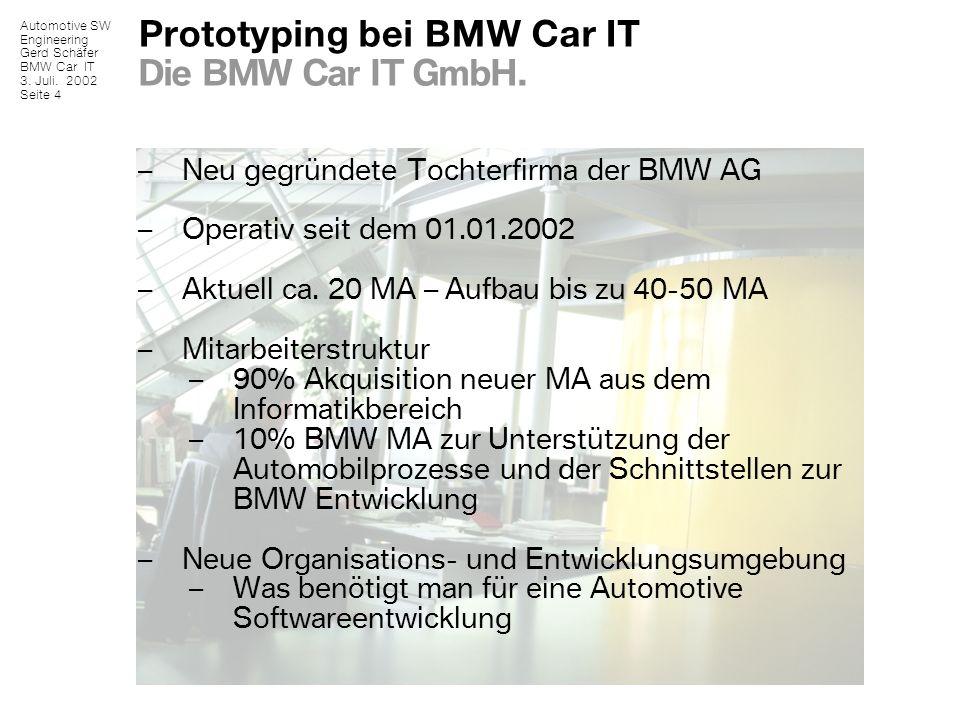 Automotive SW Engineering Gerd Schäfer BMW Car IT 3. Juli. 2002 Seite 4 Prototyping bei BMW Car IT Die BMW Car IT GmbH. – Neu gegründete Tochterfirma