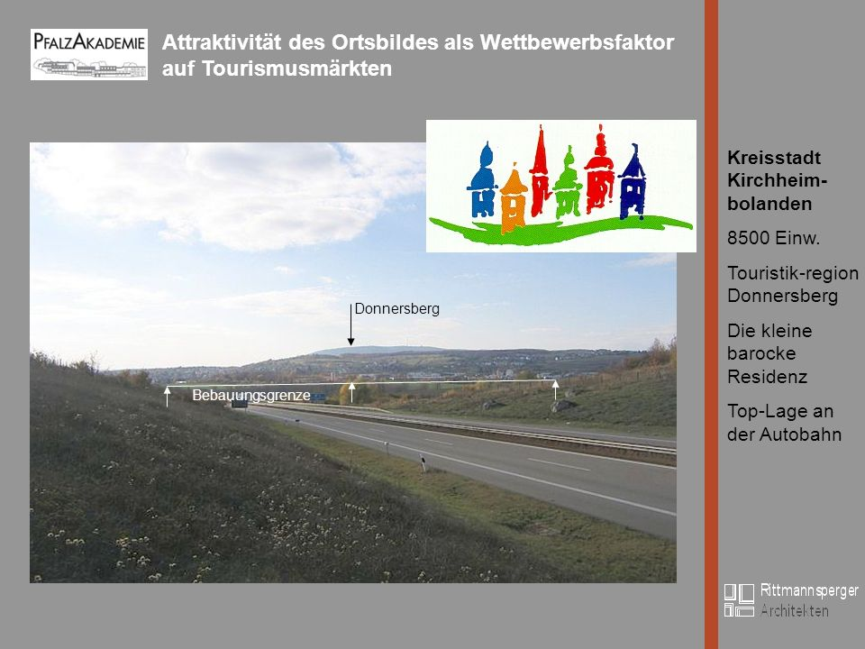 Attraktivität des Ortsbildes als Wettbewerbsfaktor auf Tourismusmärkten Bild Kreisstadt Kirchheim- bolanden 8500 Einw.