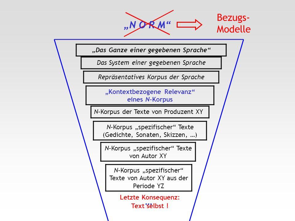 Das Ganze einer gegebenen Sprache Das System einer gegebenen Sprache Repräsentatives Korpus der Sprache N-Korpus spezifischer Texte (Gedichte, Sonaten