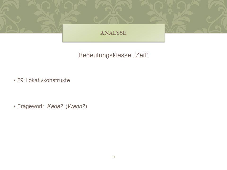 Bedeutungsklasse Zeit 29 Lokativkonstrukte Fragewort: Kada? (Wann?) ANALYSE 11