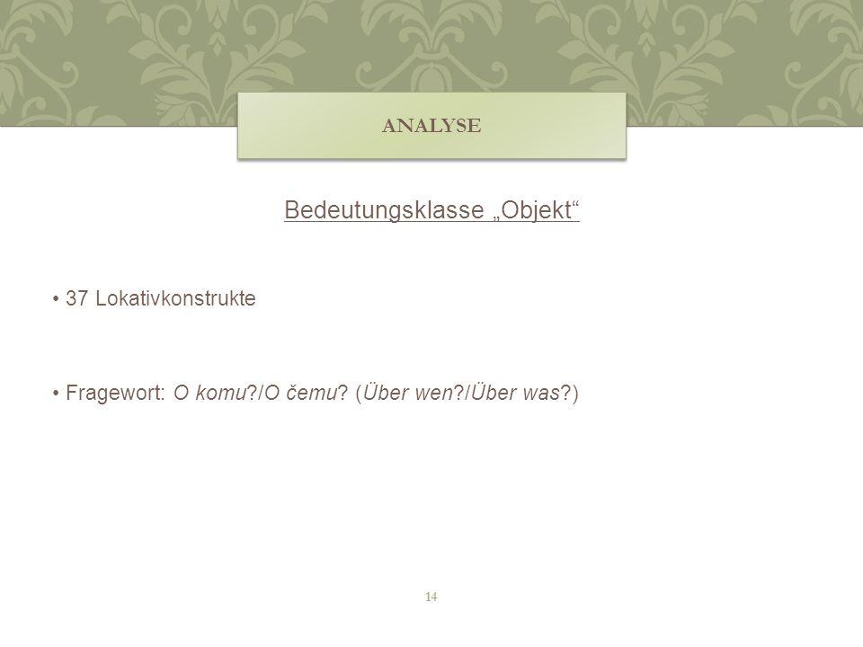 Bedeutungsklasse Objekt 37 Lokativkonstrukte Fragewort: O komu?/O čemu? (Über wen?/Über was?) ANALYSE 14