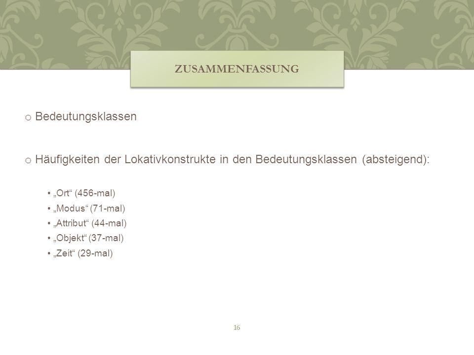 ZUSAMMENFASSUNG o Bedeutungsklassen o Häufigkeiten der Lokativkonstrukte in den Bedeutungsklassen (absteigend): Ort (456-mal) Modus (71-mal) Attribut
