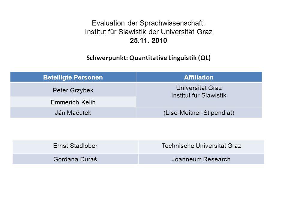 Evaluation der Sprachwissenschaft: Institut für Slawistik der Universität Graz 25.11. 2010 Schwerpunkt: Quantitative Linguistik (QL) Beteiligte Person