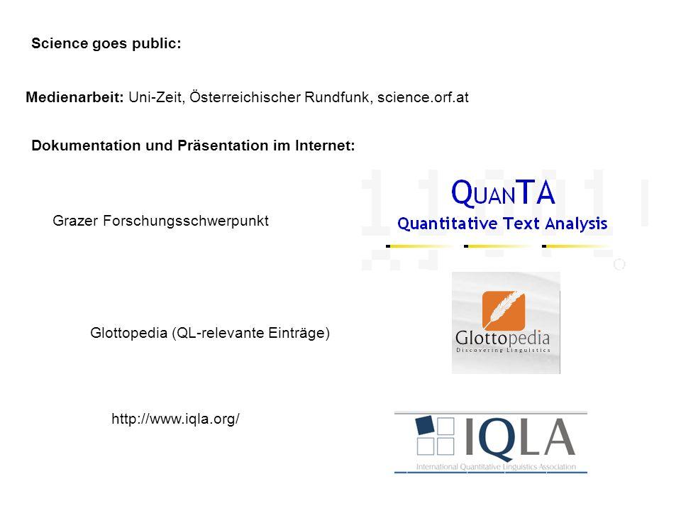 Science goes public: Dokumentation und Präsentation im Internet: http://www.iqla.org/ Glottopedia (QL-relevante Einträge) Medienarbeit: Uni-Zeit, Öste