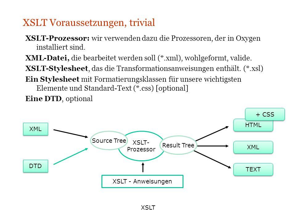 XSLT XSLT Voraussetzungen, trivial XSLT-Prozessor: wir verwenden dazu die Prozessoren, der in Oxygen installiert sind. XML-Datei, die bearbeitet werde