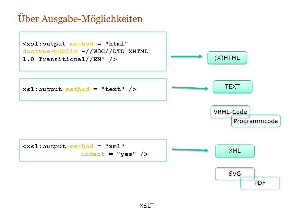 XSLT Über Ausgabe-Möglichkeiten (X)HTML XML TEXT <xsl:output method =