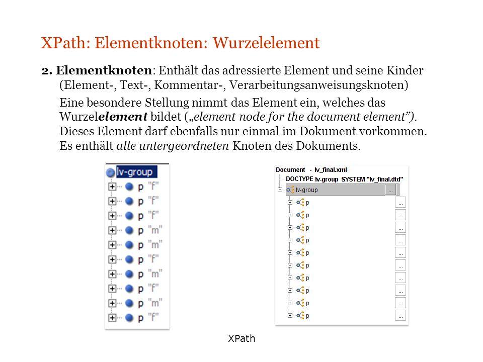 XPath XPath: Elementknoten: Wurzelelement 2. Elementknoten: Enthält das adressierte Element und seine Kinder (Element-, Text-, Kommentar-, Verarbeitun