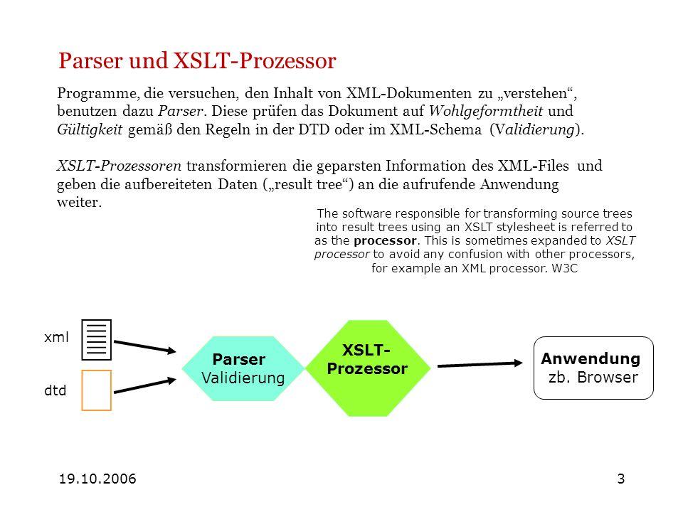 19.10.20063 Parser und XSLT-Prozessor Programme, die versuchen, den Inhalt von XML-Dokumenten zu verstehen, benutzen dazu Parser. Diese prüfen das Dok