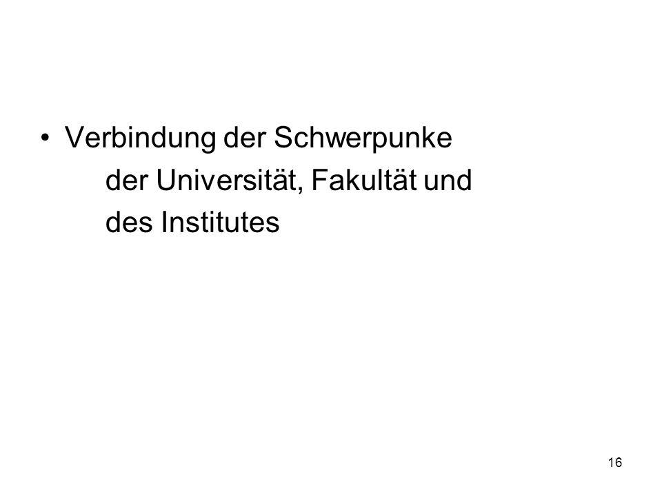 16 Verbindung der Schwerpunke der Universität, Fakultät und des Institutes