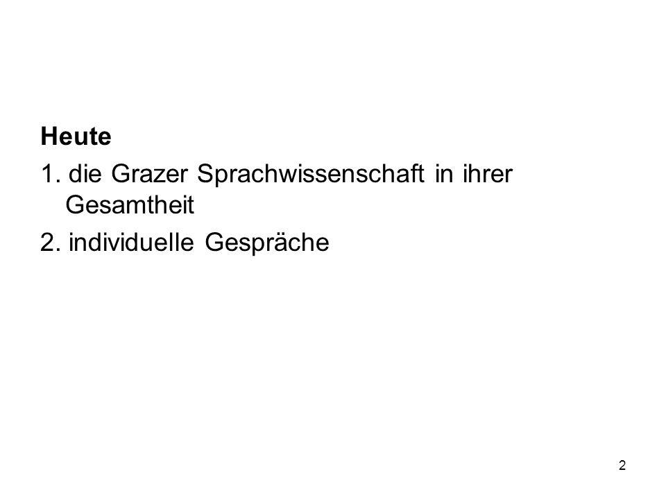 2 Heute 1. die Grazer Sprachwissenschaft in ihrer Gesamtheit 2. individuelle Gespräche