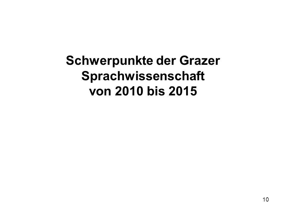 10 Schwerpunkte der Grazer Sprachwissenschaft von 2010 bis 2015