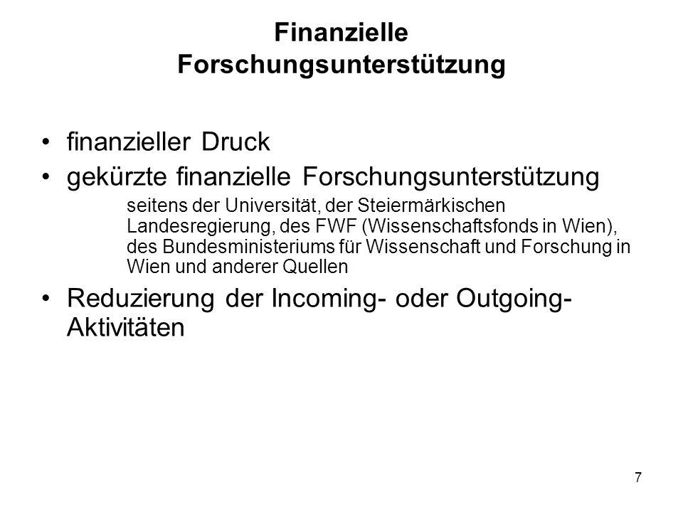7 Finanzielle Forschungsunterstützung finanzieller Druck gekürzte finanzielle Forschungsunterstützung seitens der Universität, der Steiermärkischen Landesregierung, des FWF (Wissenschaftsfonds in Wien), des Bundesministeriums für Wissenschaft und Forschung in Wien und anderer Quellen Reduzierung der Incoming- oder Outgoing- Aktivitäten