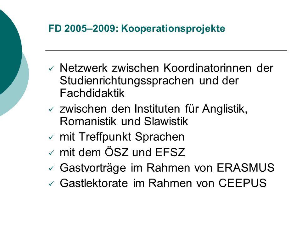 FD 2005–2009: Kooperationsprojekte Netzwerk zwischen Koordinatorinnen der Studienrichtungssprachen und der Fachdidaktik zwischen den Instituten für An