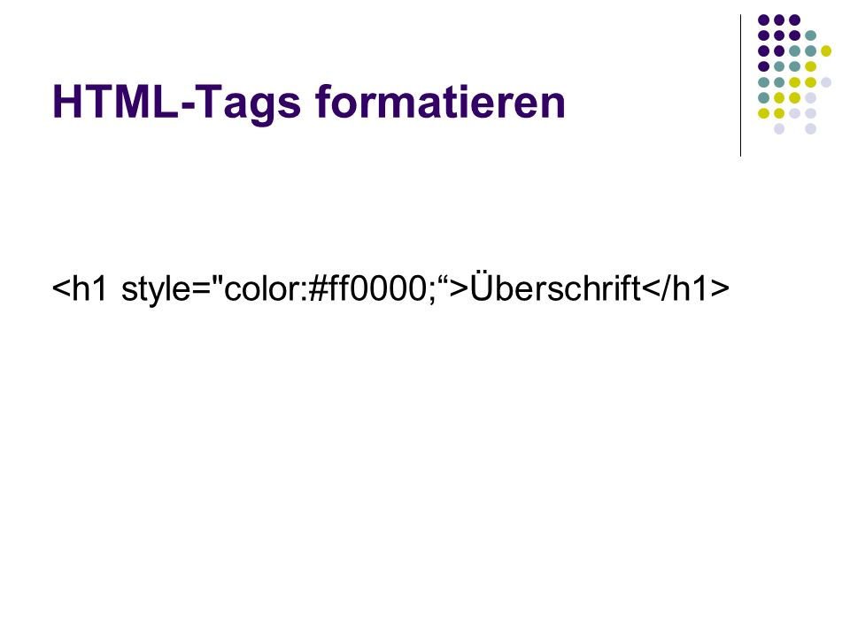 Stylesheets zentral im Dokument deklarieren 1.) <!-- 2.) Stylesheet Angaben 3.) //--> Präsentation