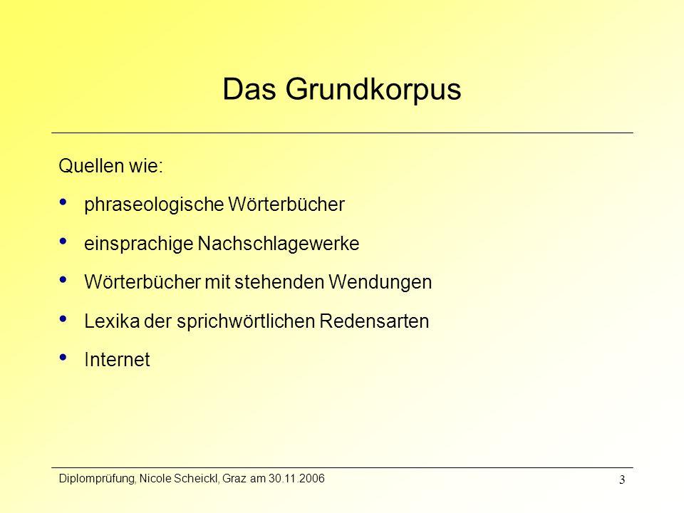 Diplomprüfung, Nicole Scheickl, Graz am 30.11.2006 3 Das Grundkorpus Quellen wie: phraseologische Wörterbücher einsprachige Nachschlagewerke Wörterbüc