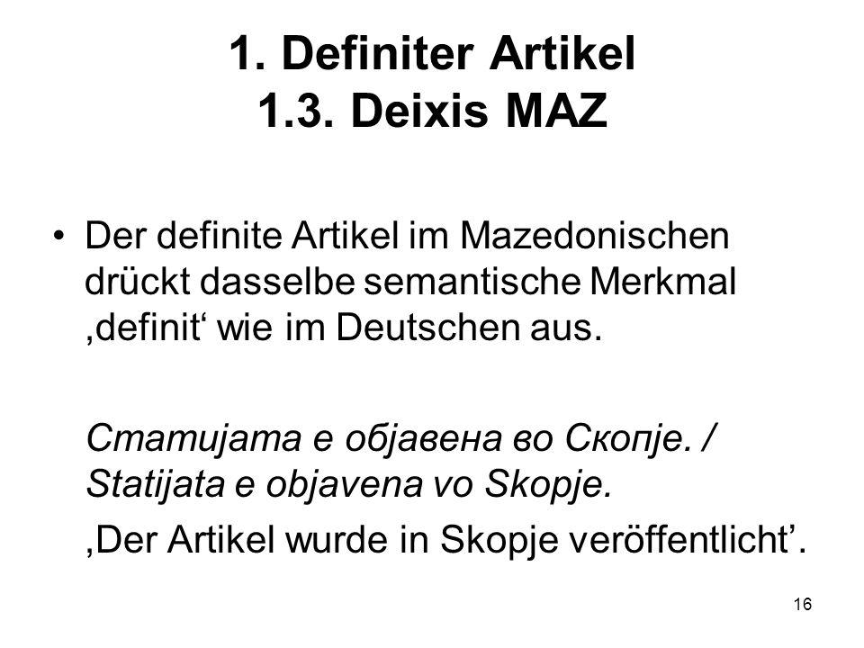 16 1.Definiter Artikel 1.3.