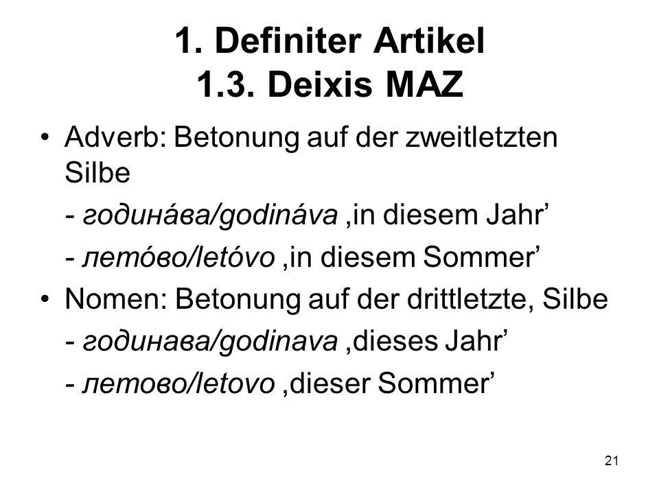 21 1.Definiter Artikel 1.3.