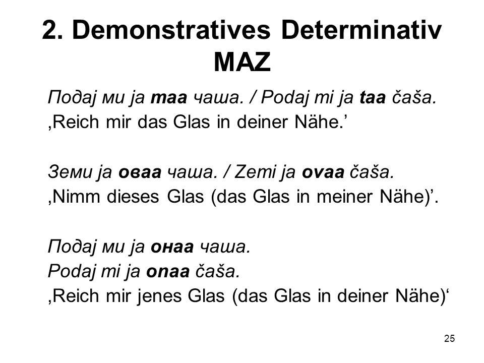 25 2.Demonstratives Determinativ MAZ Подај ми ја таа чаша.