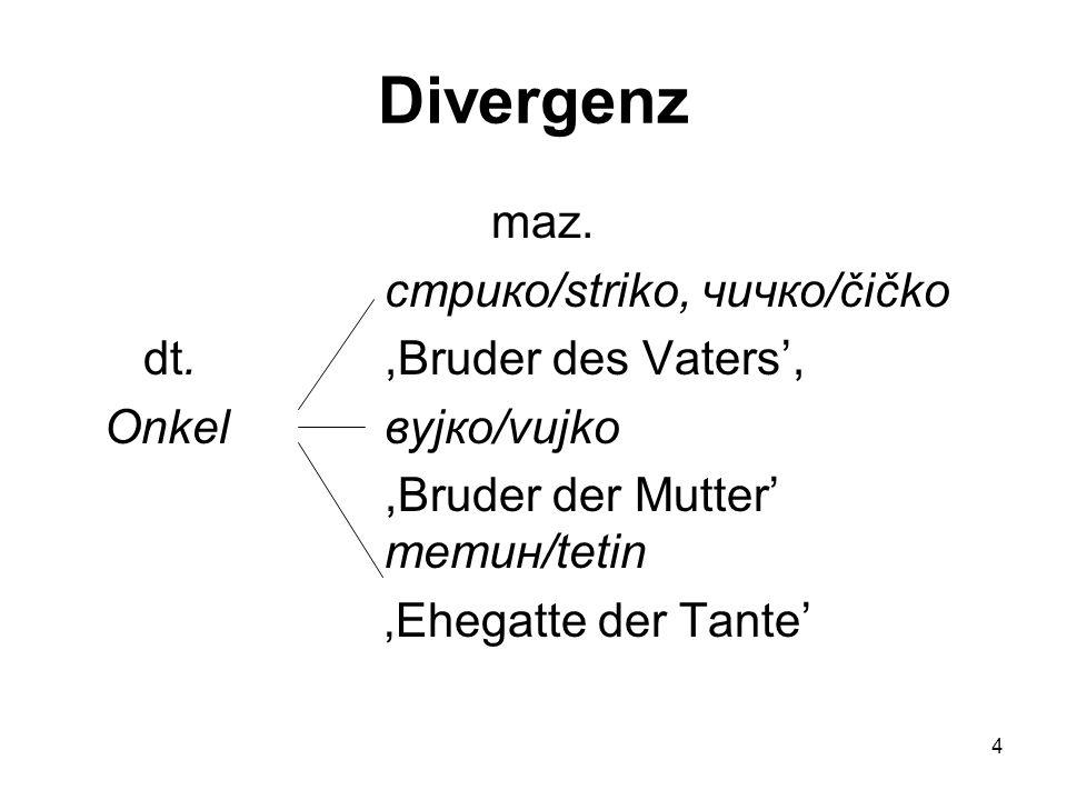 5 Konvergenz das Gegenteil von Divergenz: für mehrere Audrucksformen einer Erscheinung oder mehrere Lexeme in der Ausgangssprache gibt es nur eine Entsprechung in der Zielsprache.