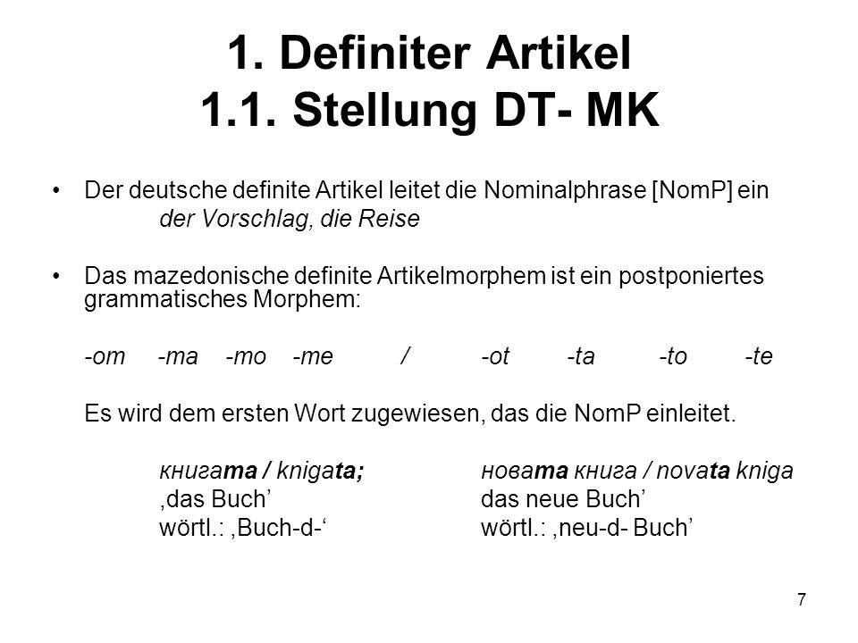 7 1.Definiter Artikel 1.1.