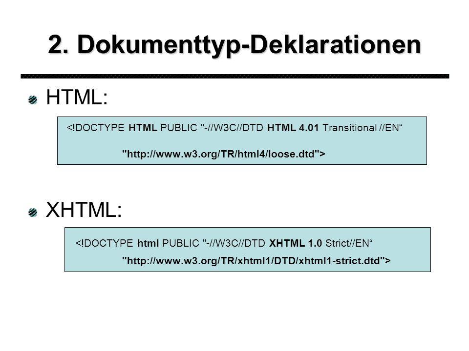 2. Dokumenttyp-Deklarationen HTML: <!DOCTYPE HTML PUBLIC