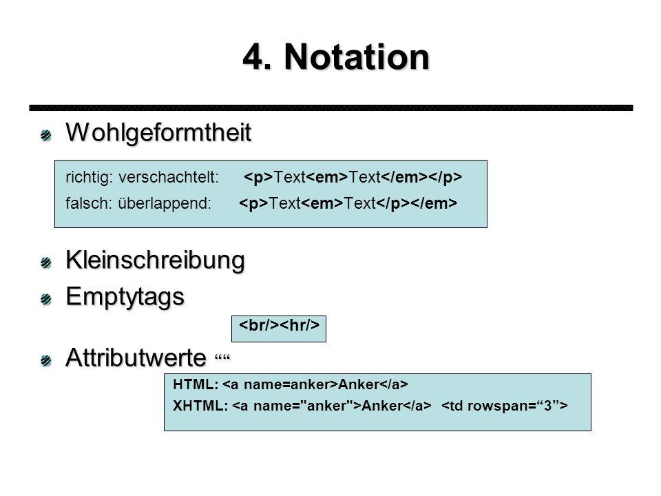 4. Notation Wohlgeformtheit richtig: verschachtelt: Text Text falsch: überlappend: Text Text KleinschreibungEmptytags Attributwerte Attributwerte HTML