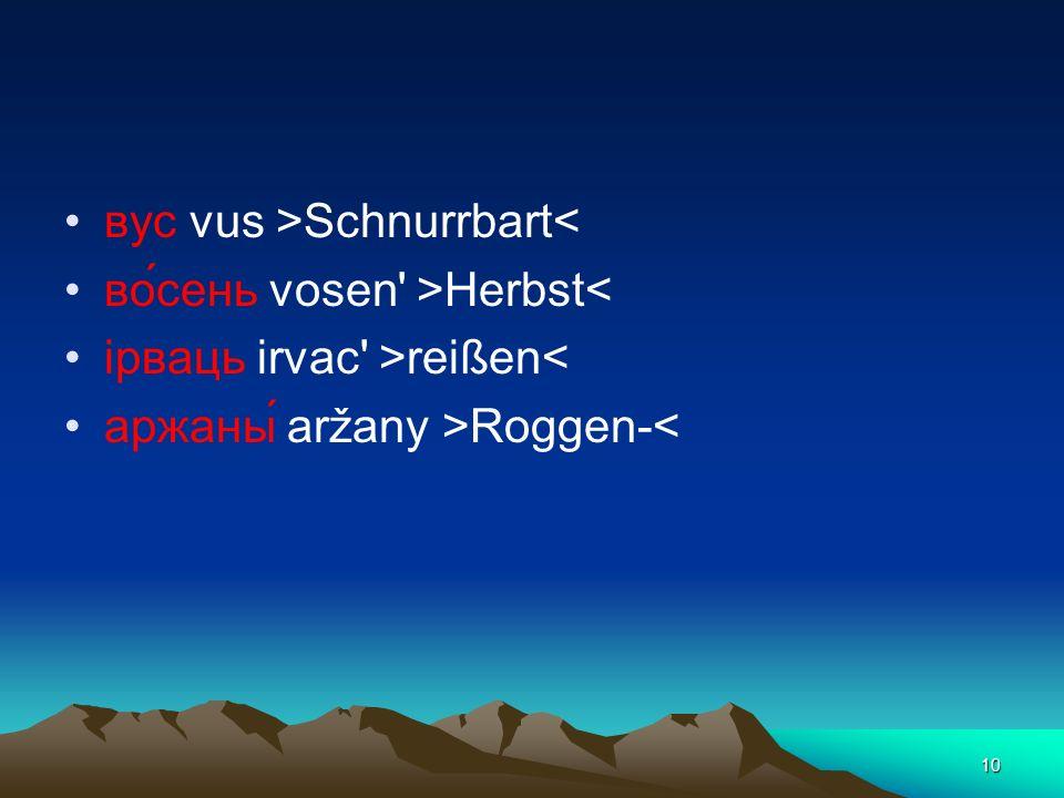 10 вус vus >Schnurrbart< во́сень vosen' >Herbst< iрваць irvac' >reißen< аржаны́ aržany >Roggen-<