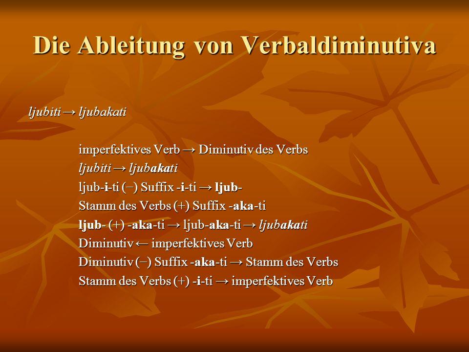 Die Ableitung von Verbaldiminutiva ljubiti ljubakati imperfektives Verb Diminutiv des Verbs imperfektives Verb Diminutiv des Verbs ljubiti ljubakati ljubiti ljubakati ljub-i-ti () Suffix -i-ti ljub- ljub-i-ti () Suffix -i-ti ljub- Stamm des Verbs (+) Suffix -aka-ti Stamm des Verbs (+) Suffix -aka-ti ljub- (+) -aka-ti ljub-aka-ti ljubakati ljub- (+) -aka-ti ljub-aka-ti ljubakati Diminutiv imperfektives Verb Diminutiv imperfektives Verb Diminutiv () Suffix -aka-ti Stamm des Verbs Diminutiv () Suffix -aka-ti Stamm des Verbs Stamm des Verbs (+) -i-ti imperfektives Verb Stamm des Verbs (+) -i-ti imperfektives Verb