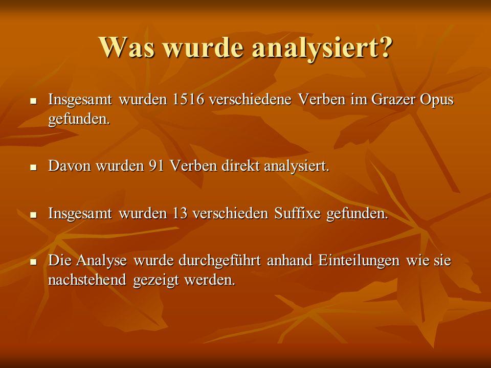 Was wurde analysiert. Insgesamt wurden 1516 verschiedene Verben im Grazer Opus gefunden.