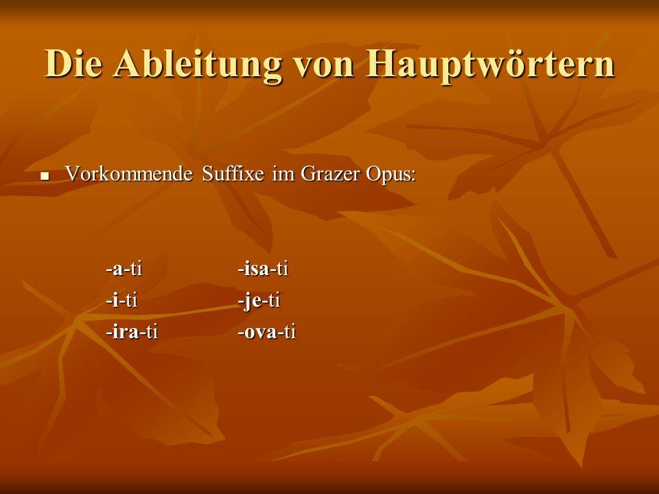 Das Suffix -a-ti klicati klicati Hauptwort (+) -a-ti Verb Hauptwort (+) -a-ti Verb klica (+) -a-ti klic-a-ti klica (+) -a-ti klic-a-ti klic-a-ti klicati klic-a-ti klicati klicati (+) -a-ti Verb (+) Akkusativ des Hauptwortes klicati (+) -a-ti Verb (+) Akkusativ des Hauptwortes klica (+) -a-ti puštati klicu klica (+) -a-ti puštati klicu Häufigkeit: Grazer Opus: 1 Häufigkeit: Grazer Opus: 1 Gralis-MorphoGenerator: 0 Gralis-MorphoGenerator: 0