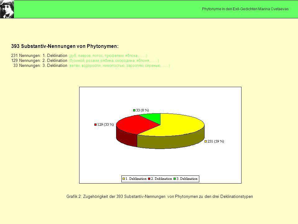 Grafik 2: Zugehörigkeit der 393 Substantiv-Nennungen von Phytonymen zu den drei Deklinationstypen 393 Substantiv-Nennungen von Phytonymen: 231 Nennungen: 1.