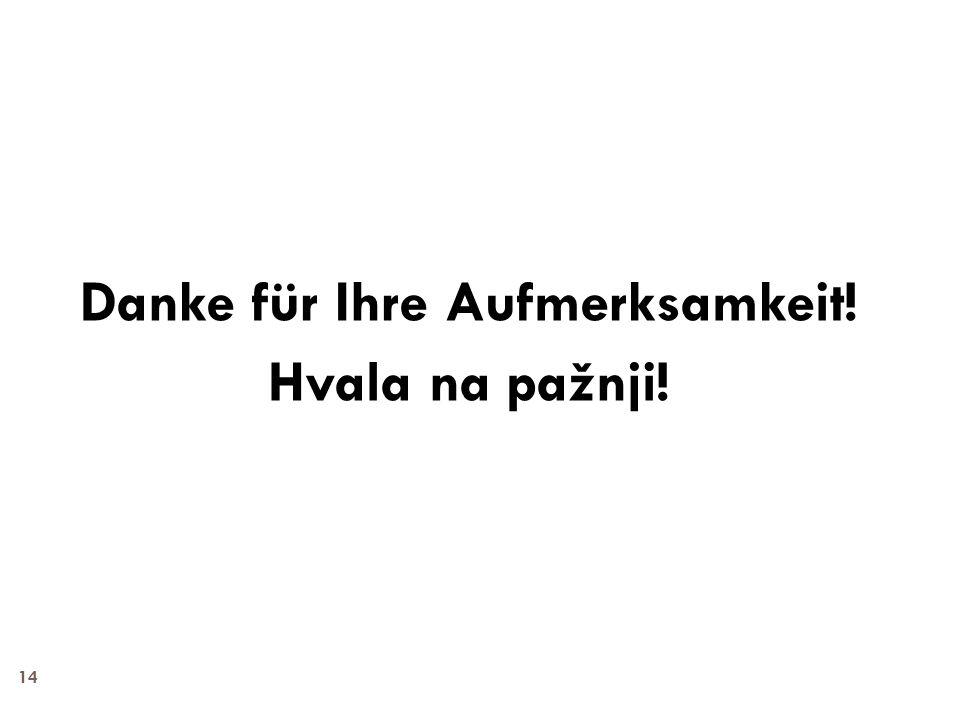 14 Danke für Ihre Aufmerksamkeit! Hvala na pažnji!