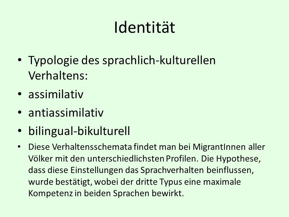 Identität Typologie des sprachlich-kulturellen Verhaltens: assimilativ antiassimilativ bilingual-bikulturell Diese Verhaltensschemata findet man bei M