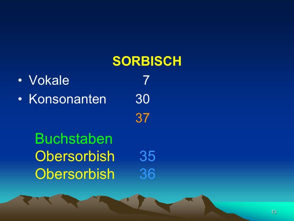 13 SORBISCH Vokale 7 Konsonanten 30 37 Buchstaben Obersorbish 35 Obersorbish 36