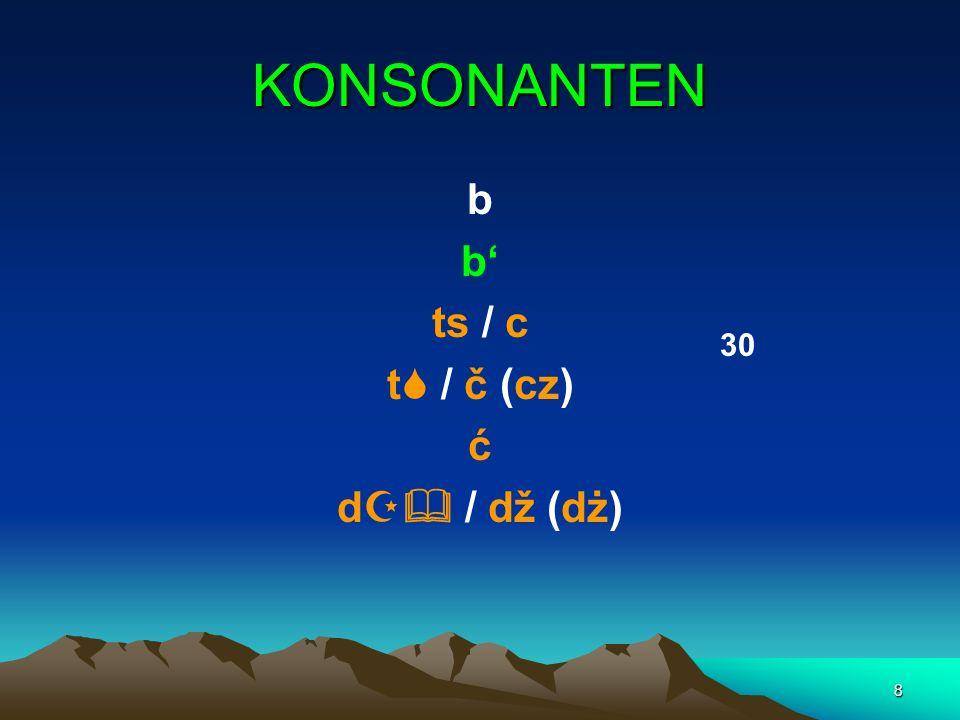 8 KONSONANTEN b ts / c t / č (cz) ć d / dž (dż) 30