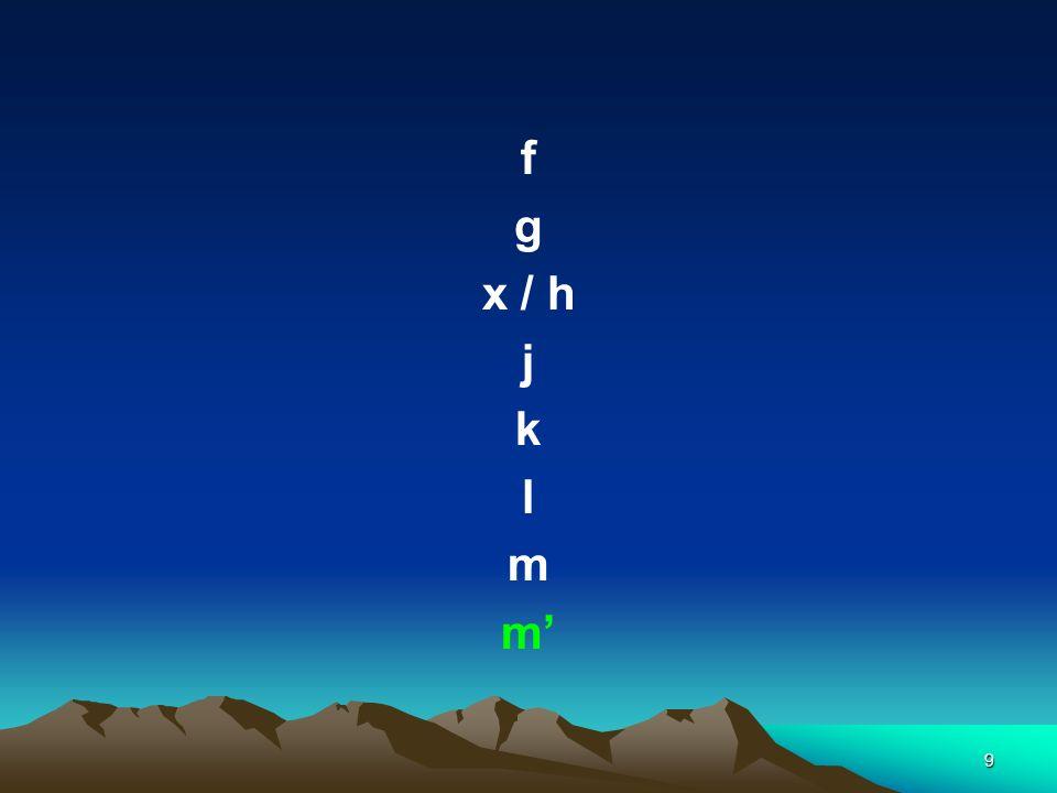 9 f g x / h j k l m