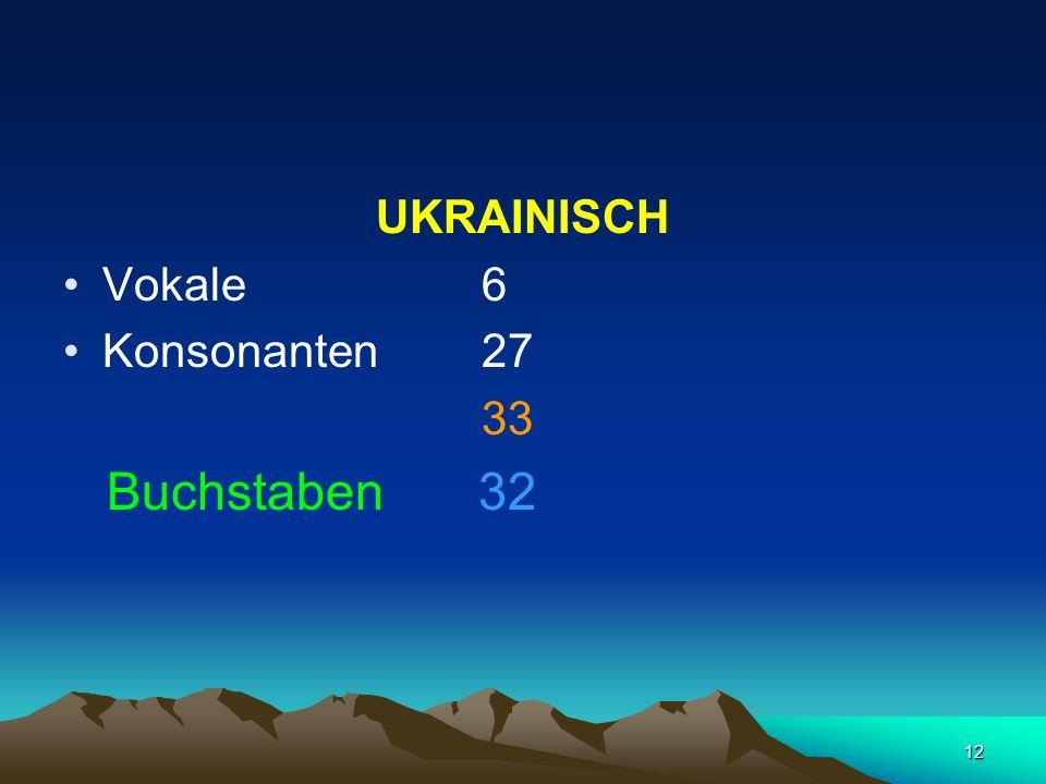 12 UKRAINISCH Vokale 6 Konsonanten 27 33 Buchstaben 32